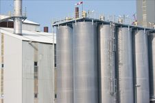 Big Silo S Of A Dutch Factory Royalty Free Stock Photo