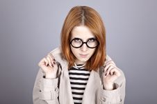 Free Young Red-haired Girl In Glasses And Cloak. Stock Photos - 16639113