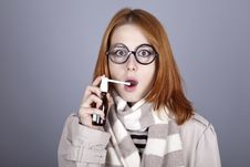 Chill Red-haired Girl In Glasses With Spray. Stock Photography