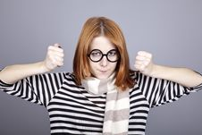 Free Angry Red-haired Girl In Glasses And Scarf. Royalty Free Stock Image - 16639226