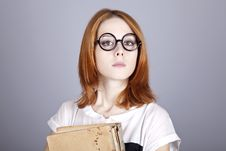 Free Funny Red-haired Girl With Old Book. Stock Photos - 16639323