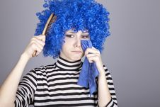 Free Portrait Of Sad Girl With Blue Hair And Comb. Royalty Free Stock Images - 16639509