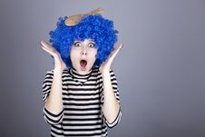 Free Surprised Blue Hair Girl With Stuck Comb. Stock Image - 16639611