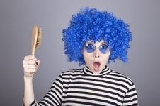 Free Surprised Blue Hair Girl With Comb. Stock Photo - 16639660
