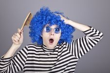 Free Surprised Blue Hair Girl With Comb. Royalty Free Stock Photos - 16639678