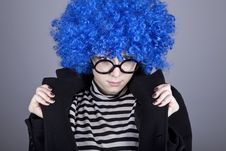 Free Funny Blue-hair Girl In Glasses And Black Coat. Stock Images - 16639734