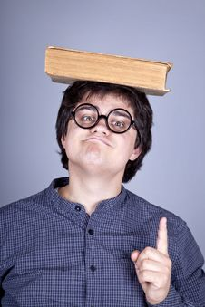 Young Men Thoughtful Men With Book Over Head. Stock Image