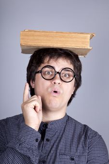 Young Men Thoughtful Men With Book Over Head. Stock Photos
