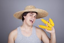 Funny Farmer In Cap With Three Corns. Stock Photos