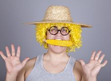 Free Funny Farmer Keep Corn In Mouth. Stock Image - 16640001