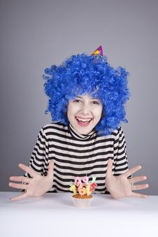Funny Blue-hair Girl With Cake. Royalty Free Stock Images