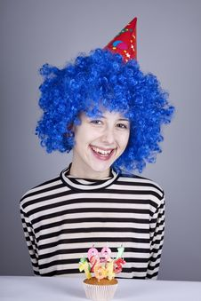 Funny Blue-hair Girl With Cake. Royalty Free Stock Photos