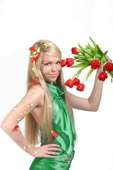 Free Girl With Flowers Stock Image - 16640151