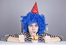 Funny Blue-hair Girl With Cake. Royalty Free Stock Image