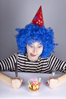 Funny Blue-hair Girl With Cake. Royalty Free Stock Photography