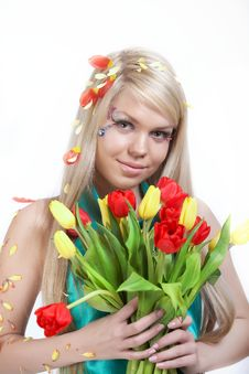 Free Girl With Flowers Royalty Free Stock Image - 16640336