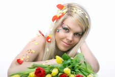 Free Girl With Flowers Royalty Free Stock Photography - 16640517
