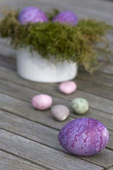 Easter Eggs In The Row Royalty Free Stock Photos