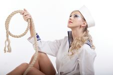 Free Sailor Girl With Rope Stock Photography - 16640902