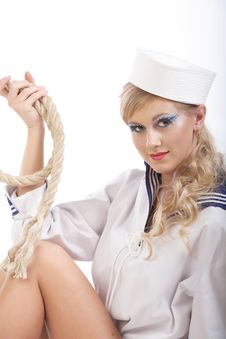 Free Sailor Girl With Rope Stock Photo - 16640940