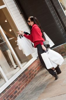 Free Smiling Women Shopping With White Bags Stock Image - 16640991