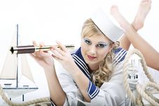 Free Sailor Girl With Telescope Royalty Free Stock Images - 16641029