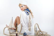 Free Sailor Girl With Telescope And Rope Stock Photo - 16641050