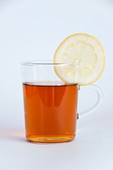 Free Glass Of Hot Black Tea With Lemon Stock Photo - 16641490