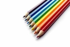 Free Colored Pencils Arranged In Rainbow Spectrum Order Royalty Free Stock Photos - 16642358