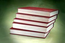 Set Of Redish Orange Old Books Stock Photography