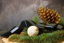 Free Pinecone, Christmas Bulbs, Pine Branches Stock Photos - 16642783