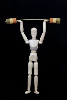 Weight Bar And Wooden Model Stock Image