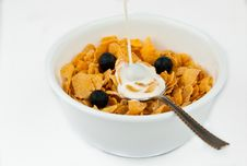 Free Pouring Milk Into Bowl Of Cereal Royalty Free Stock Photos - 16642878