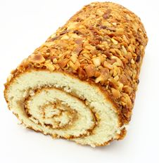 Free Fresh Swiss Roll With Poppy On White Royalty Free Stock Image - 16643376