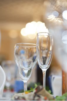 Free Three Wine Glasses  On Fancy Table Set Royalty Free Stock Photography - 16645827