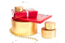 Free Red And Gold Gift Boxes. Stock Photos - 16646043