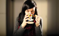 Free Girl Drinking Coffee Stock Photography - 16646132