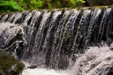 Free Waterfall Close Up. Water Cascade On Moss Stones Royalty Free Stock Photos - 16649018