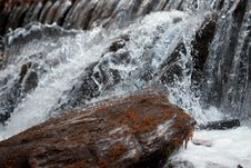 Free Waterfall Close Up. Water Cascade On Moss Stones Stock Image - 16649061