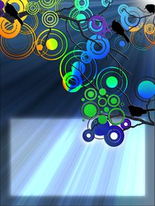 Free Colorful Circles And Birds Background Royalty Free Stock Photos - 16649088