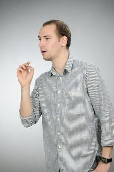 Free Teen Caughing After Smoking Cigarette Royalty Free Stock Photos - 16649378