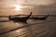 Free Long Tail Boats On Beach Stock Photos - 16649703