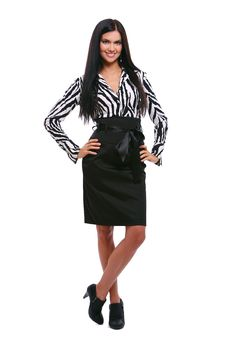 Woman In Striped Blouse Over White Royalty Free Stock Photo