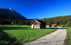 Village In The Morning At Foot Of Mountain Stock Photo