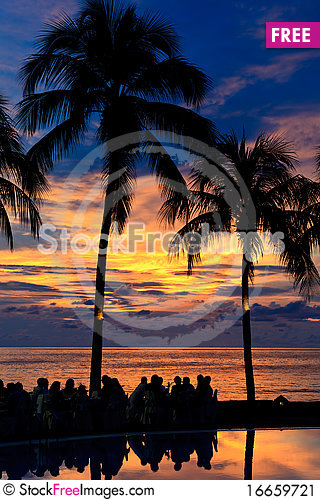 Free Diner On The Beach At Sunset Stock Image - 16659721