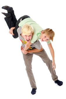 Free Two Young Brothers Having Fun Royalty Free Stock Photos - 16650008