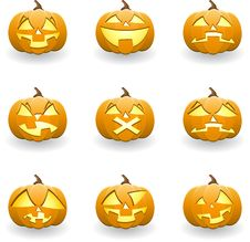 Halloween Pumpkin Smiles Stock Images