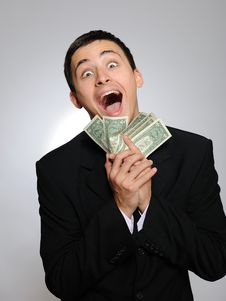 Free Expressions.Young Handsome Business Man With Money Stock Images - 16650164
