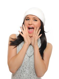 Expressions.Beautiful Winter Woman  Screaming Stock Photo