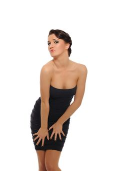 Beautiful Sexy Woman In Short Elegant Dress Royalty Free Stock Image